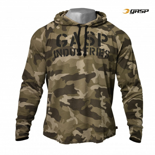 Толстовка Gasp Long Sleeve Thermal Hoodie, Green Camo Print