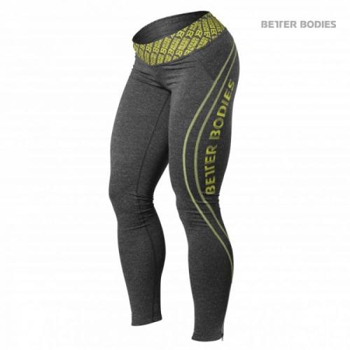 Лосины Better Bodies Shaped Logo Tights (Antracite Melange/Lime)